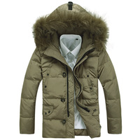 2014 new fashion Fashion Men's winter Hoodies quilted overcoat clothing outerwear warm Fur Collar puffer down coat 0001