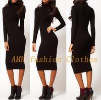 New Fashion 2014 winter Autumn Elegant Turtleneck Full Sleeve Mid-calf Sheath Stretch Slim Pinup Party Pencil Women Dresses
