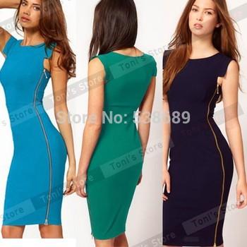 2014Summer dress Women's suumer  Wear to Work Sleeveless Zipper Fitted Bodycon ...