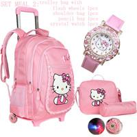 Hello kitty primary schoolbag cartoon trolley backpack students trolley shoulder backpack school bag with wheels