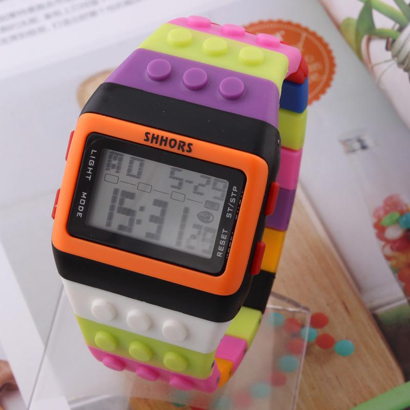 1pcs LED Watch Coloful Stripe Unisex New Sports Watches Shhors Rainbow watch Digital Hour Wristwatch(China (Mainland))