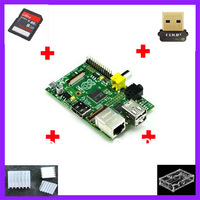 7 IN 1 Rev 2.0 512 ARM Raspberry Pi + 3 heat sinks + 1 board case +1usb network card+ 1 8G SD Card