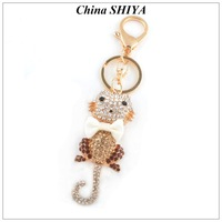 Cute BowKnot Cat Keychain/Pendant Full Rhinestone Animal Keychains For Women Wholesale/Retail Creative Gift