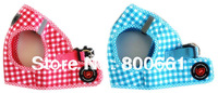 Free Shipping!Retail  Plaid Soft Dog Vest Harness pink blue 2 colors 4sizes(10% off for 2pcs)
