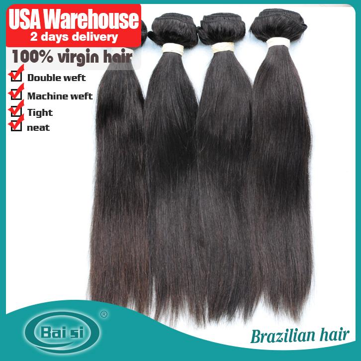 La señorita para el cabello 17-27 edad, unproccessed 6a brasileño virgen del pelo recto, piezas 3/lote, la mezcla de la longitud del pelo humano de extensión