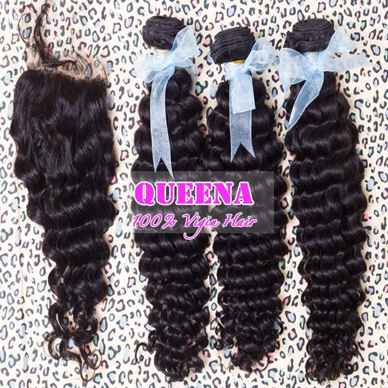 Peruvian virgin human hair deep curly hair lace closure with hair bundles,4pcs lot bleached knots closure 4 inchx4 inch(China (Mainland))