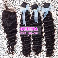 Peruvian virgin human hair deep curly hair lace closure with hair bundles,4pcs lot bleached knots closure 4 inchx4 inch