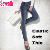 High Quality 2013 New Soft Elastic Was Thin Skinny Slim Hips Sexy Washed Mid Waist Cotton Women Pencil Jeans Autumn Winter