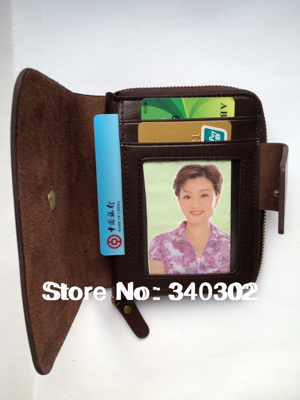 Quality short design genuine leather wallet card pack purse Unisex women man Discount Alicool gift ALIBABA LOGO Free Shipping(China (Mainland))