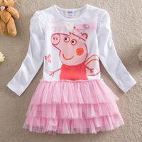 5pcs/lots,free shipping,new summer dress 2014 peppa pig dress baby girls kids dress long sleeve tutu dress children clothing
