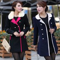 2014 Plus Size Clothing Color Block Wool Coat Medium-Long Fake Fur Collar Woolen Outerwear Free Shipping