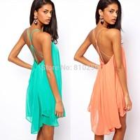 A657 Free shipping 2014 women new fashion 3 colors sexy backless cross strap sleeveless chiffon dress summer plus size dresses