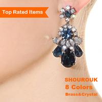 High quality luxury crystal long earing fashion shourouk women brand vintage drop earrings designer statement brass jewelry