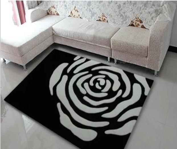 Noir et blanc rose 160 x 230 cm acrylique fil tapis et - Tapis pour salon noir et blanc ...
