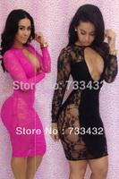 New Fashion 2013 Black Sexy Bandage Dress Lace Long Sleeve Bodycon Vestido open Front Clubwear Evening Women Dress Free Shipping