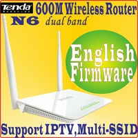Eng-Firmware Tenda N6 wireless router Dual Band 600Mbps wifi dual ssid iptv dual band 2.4G+5G for HD media N600 AP Router PROM10