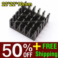 50% OFF + Free Shipping 2,000pcs 22*22*10mm Black Anodize Cooling VGA BGA CPU Cooler Heatsink