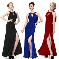 Fast shipping 09904 2014 New Unique Rhinestones Slitted Weddings  EventsWomen Formal Elegant Sexy Long royal blue evening dress