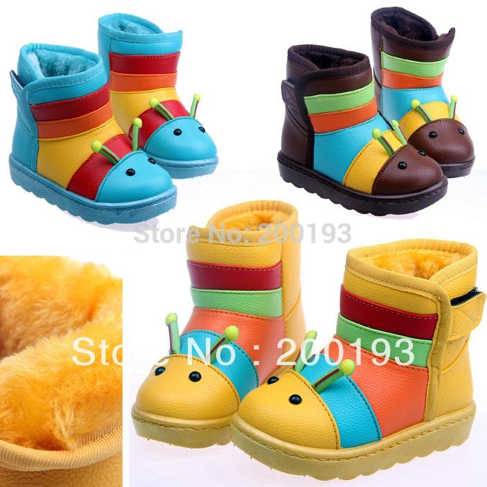 Spedizione gratuita moda bella calda bambini stivali invernale impermeabile per il ragazzo e una ragazza 1-6years(colore: giallo, blu, caffè)