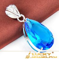 Dashing Summer Ocean Blue Topaz Bling Water drop 925 Silver Pendant Free shipping P0240