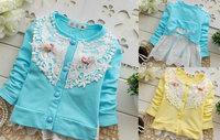 2014 baby clothing cute baby sweater wholesale 4pcs/lot fashion flower roupas de bebe sweater girls lace cardigan free shipping