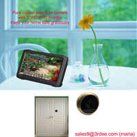 DHL free shipping high end door view camera  monitor(90 deg brass cam,motion detect,loop recording)