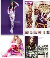 2015 spring winter women's clothing animal tiger Camouflage Skull 3d Print Sweatshirt Hoodies sport sports suit women tracksuits