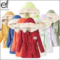 New 2015 Winter Women's Fashion Fur Hooded Zipper Embellished Fleece Inside Military Casual Coat  Colorful outerwear