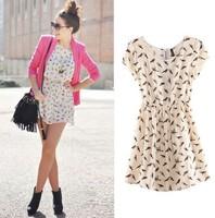 New 2014 Women Summer Dress 100%Cotton Animal Bird Rosefinch Print Dresses Elegant Elastic Vintage Vestidos Casual Free Shipping