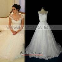 2014 New model fashion soft lace brazil designer Wedding Dress