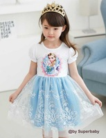 Wholesale Hot Sale Children Girl Dresses,Summer Frozen children princess dresses,girl's party dresses,cartoon design,2 colors