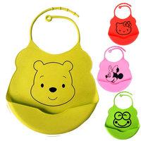 2014 New design silicone bib  Saliva towel  waterproof  bibs baby minnie  mickey kitty style baby feeding