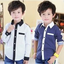 Children's Clothing New 2014 Spring Autumn Baby Boys Dot Long-sleeve Designer Brand Shirts Kids Fashion Blouse Outwear 100-160(China (Mainland))