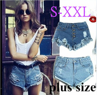 2013 summer Vintage women vintage high waist button hole washed out frayed hem extro short jeans denim distressed cutoffs shorts