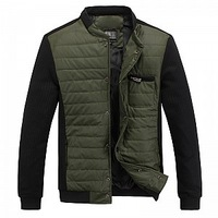 2013 New Winter Men's Casual Slim Cotton Padded Jacket Brand Design PU Leather Jacket Warm Coat Green/Blue/khaki