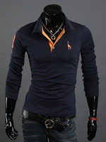 Spring and Autumn Men's Cotton Blend Deer Embroidered Slim Long Sleeved Pullovers Polo Shirt