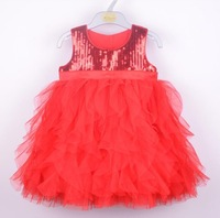 New 2015 baby girl princess dress children lace dresses for Christmas kids tutu clothes for autumn -summer 2colors for 3T-6T