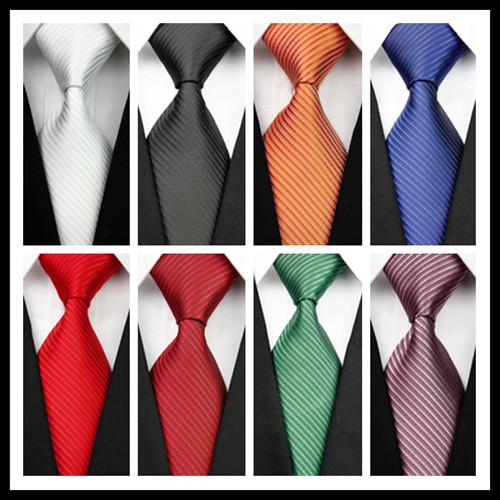 CON07 Man's White Black Orange Blue Red Green Brown Men Stripe Silk Polyester Tie Causual Business Wedding Party Luxury Necktie(China (Mainland))