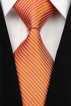 CON07 Man s White Black Orange Blue Red Green Brown Men Stripe Silk Polyester Tie Causual