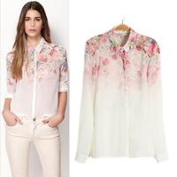 SZ044 New 2015 Fashion Women's White See-Through Shirt Loose Button Down Shirt Blouse Lapel Chiffon Floral Top Blusas Femininas