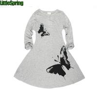 LittleSpring Girls dress 100-140 butterfly Autumn children clothing casual dress girl Full butterfly print girl dress baby dress