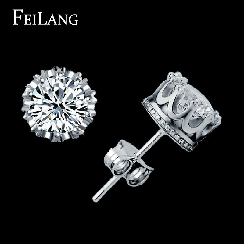Top Quality Wedding Jewelry Platinum Plating Multi Prongs 8mm Round 2ct Swiss CZ Diamond Stud Earring For Women (FSEP056)(China (Mainland))