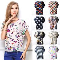 16 Designs S,M,L,XL,XXL Selected Blouse O-neck Colorful Bird Heart Pady's Chiffon Loose Batwing Casual Short Blouse Shirt