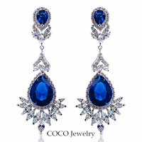 Super Luxury Austrian Crystal  Big Water Drop Earrings Women Weddings & Events Jewelry ZE102 Wholesale Four- color