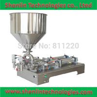 Semi-automatic bottle filling machinery pneumatic food packaging filler shower gel cream body lotion packer SS304 30L hopper