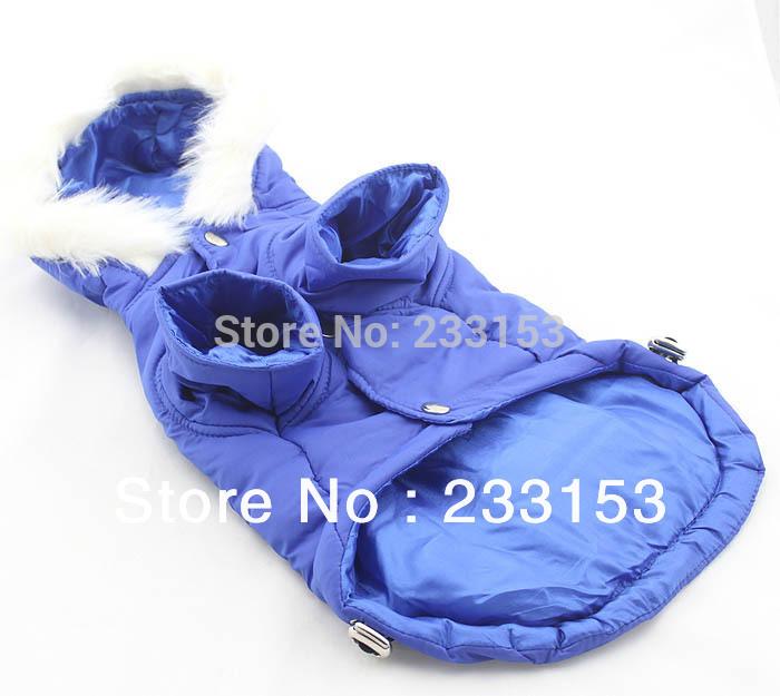 Free Shipping Large Dog Clothing Dog Warm Jacket Hooded Coat Dog Thickening Clothes Dog Thermal Vest Puffy Ski Coat Blue Color(China (Mainland))