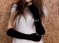 1 pair Quality Cashmere Wool Fleece Long Arm Warmers Fashion Women's Ladies Hand Warmers Fingerless Gloves BLACK