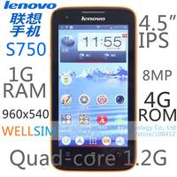 Original   Lenovo S750 Multi language Mobile phone 4.5IPS 940x560 MTK6589 Quadcore1.2G 1GRAM 4GROM  Android 4.2 8MP
