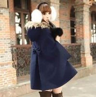 2014 New Wool Blends outerwear coats winter cape-style short-sleeved horn button wool  coat for women Free Shipping
