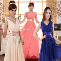 2014 new arrival long short zipper blue clothing Criss-Cross sex V-Neck green evening dress plus size XXXXXL size party dresses